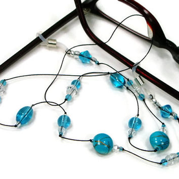 Aqua Blue Glasses Chain, Eyeglass Chain, Reading Glasses Lanyard, Glasses Holder, Stylish Eyewear, Glasses Leash, TJBdesigns