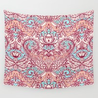 Natural Rhythm - a hand drawn pattern in peach, mint & aqua Wall Tapestry by Micklyn
