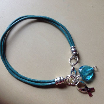 Teal Blue or Teal Green Awareness Bracelet-Leather-Ovarian Cancers-Anxiety Disorder-Sexual Abuse-Stress Disorder