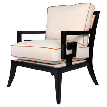 Santorini Lounge Chair, Alabaster/Orange, Accent & Occasional Chairs