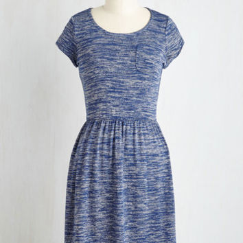 Mid-length Short Sleeves A-line Casual Inclination Dress in Heather Blue