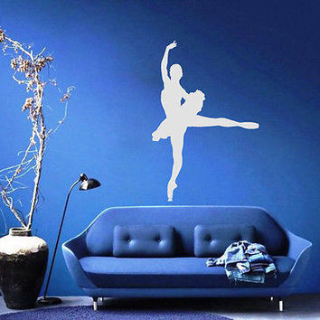 WALL VINYL STICKER DECALS MURAL BALLET DANCER GIRL BALLERINA SILHOUETTE A1347