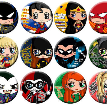 D.C. Comics Button and Batman Set featuring Batman, Joker, Harley Quinn, Superman, Wonder Woman, Flash, Catwoman, Poison Ivy and More!