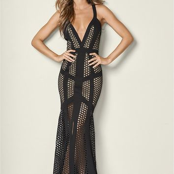 Lace Detail Long Dress in Black | VENUS