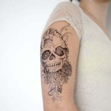Temporary Tattoo - Large Skull, Floral, Tattoo Sleeve, Butterfly, Large Tattoo