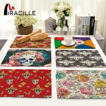 2/4/6pieces Set Sugar Skull Art Home Decorative Table Place Mats Flower Skulls Pattern Placemats For Kitchen Table