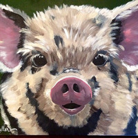 Canvas pig print. Pig art print from original Pig on canvas painting.