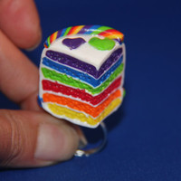 Handmade Polymer Clay Rainbow Cake Ring, kawaii cookie jewelry, miniature dessert jewelry, realistic food jewelry, rainbow jewelry