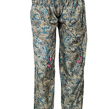 Womens Yoga Pants Two Pockets Smoked Waist Blue Printed Boho Harem Trousers