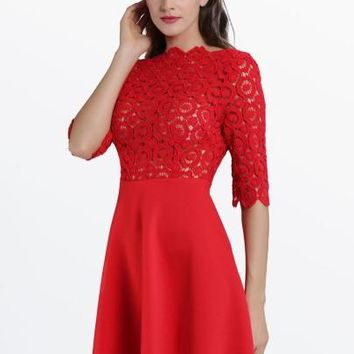 Red Half Sleeve Backless Scallop With Lace Women's Flare Dress