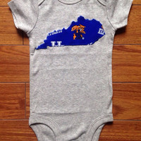 Kentucky Onesuit Baby Size 3 Months - Gray and Blue UK - Handmade - State of Kentucky Baby Onesuit - Ready To Ship