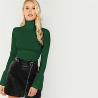 Army Green Bell Cuff Rib Knit Fitted Flounce Sleeve High Neck Pullovers Tee Women Casual Slim Fit T-shirt Top