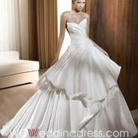 Floor-Length Ruffled Wedding Dress
