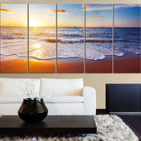Large Wall Art Colorful Sunset and Beach, Ocean Landscape Canvas Art Prints For Wall - Sea View Large Art Canvas Printing - Wall Art Canvas - MC126