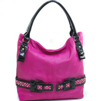 Women's Large Fashion Hobo w/ Rhinestone Studded Belt Accent - Fuchsia Color: Fuchsia