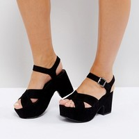 New Look Wide Fit Platform Chunky Sandal at asos.com