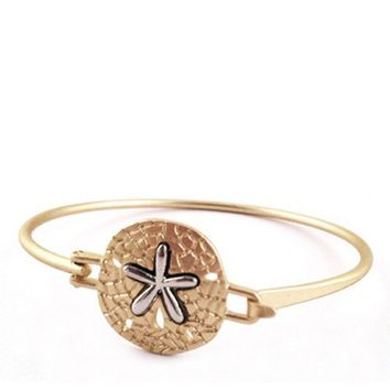 Two-Tone Sand Dollar Bangle Bracelet (2 Colors Available)