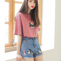 2016 Summer Denim Shorts Women Fashion Casual Cartoon Printed Plus Size High Waist Shorts Curling Jeans Shorts Short Feminino