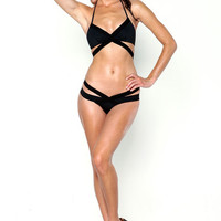 PRIVATE ARTS STRAPPY BIKINI BOTTOM IN BLACK