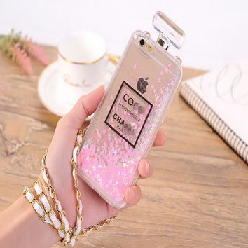 Newest fashion Luxury Perfume bottles Glitter Sand Quicksand Star Cover Phone Case