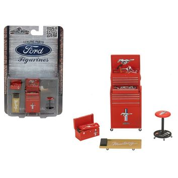Ford Mustang 4 Pieces Garage Tools Set For 1-18 Scale Models by Motorhead Miniatures