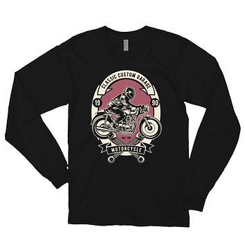 Men's Retro Vintage Long Sleeve Shirt Fall Winter Clothing Custom Motor Garage