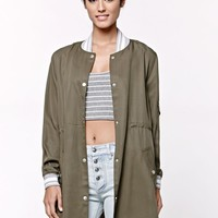 LA Hearts Athletic Ribbed Glamping Jacket - Womens Jacket - Green