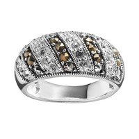 Silver Luxuries Silver-Plated Crystal & Marcasite Stripe Ring (Stone/Brass/Silver)