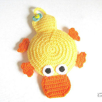 Potholder Original Duck, Yellow Duck, Handmade Potholder, Crochet Potholder, Presina Papero (Cod. 31)