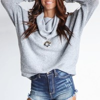 No Grudges Gray Cowl Neck Sweater