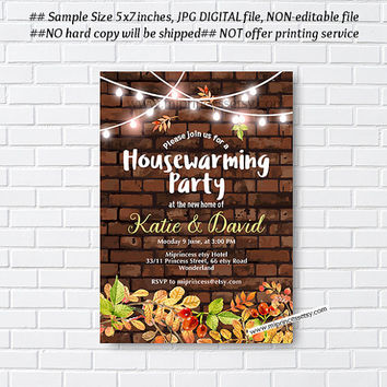 Fall housewarming party invitation, New house, Brick background, home sweet home, housewarming - card 1015