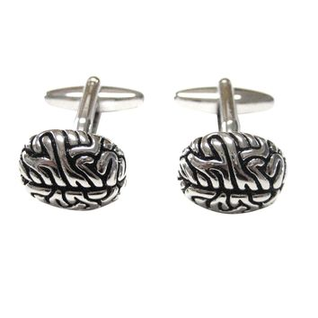 Silver Toned Anatomical Brain Cufflinks