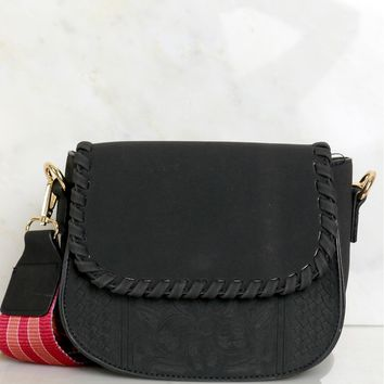 Reversible Strap Cross Body Bag Black/Multi