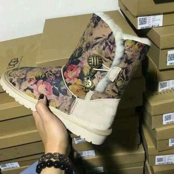 DCCK8X2 UGG:: bow leather boots boots in tube Print floral boots