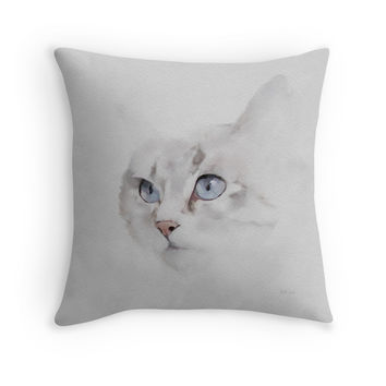 'Sonsy - Silver Grey Cat' Throw Pillow by Bamalam Art and Photography
