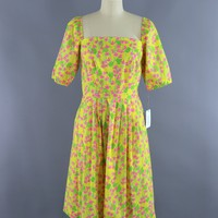 Vintage 1960s Lilly Pulitzer Dress / Yellow & Pink Floral Print