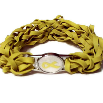 Pediatric Cancer Awareness Stretch Bracelet - Made with Yellow Rubber Bands - Yellow Ribbon Charm, Childhood or Childrens Cancer Awareness