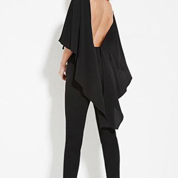 Open-Back Cape Jumpsuit