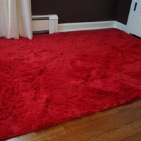 College Essential Plush Dorm Room Rug - Redder than Red College Room Accessories