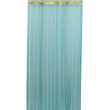 "2 Sari Curtains Sheers Turquoise Window Panels Gold Tab Tops (Length:84"")"