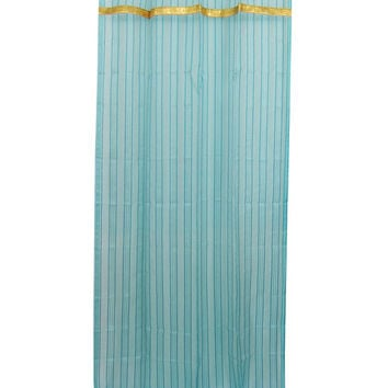 2 Sari Curtains Sheers Turquoise Window Panels Gold Tab Tops Le