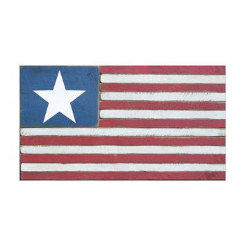 Handcrafted American Flag Wood Sign With Star 36-in