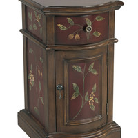 Handpainted Floral Red/Brown Accent Chest
