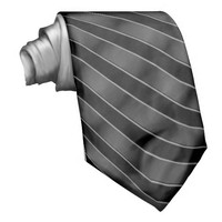 Black tie with silver metallic stripes