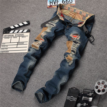 Strong Character Ripped Holes Slim Denim Pants Jeans [6541848771]