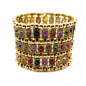 gold vintage style multicolored 3-row crystal bracelet