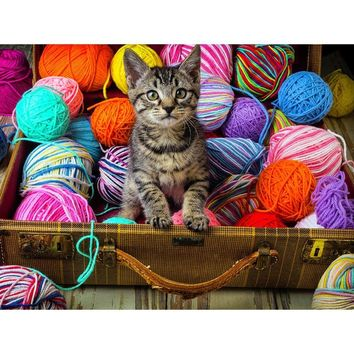 5D Diamond Painting Kitten and String Kit