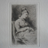 The Knitter. Fine Art Etching - Tricoteuse by Adrien Lambert Jean De Witte (1850-1935) - 1875 on hand-laid paper uncut, original and rare.