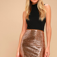 Dancing 'til Daylight Copper Sequin Bodycon Skirt