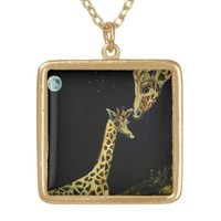 Mommy and Me GiRaFfE ArT painting Necklace gift from Zazzle.com